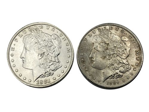 1881-O and 1889 Morgan Silver Dollar Coin Lot