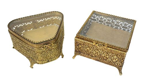 Pair of French Style Ornate Brass Vanity Boxes