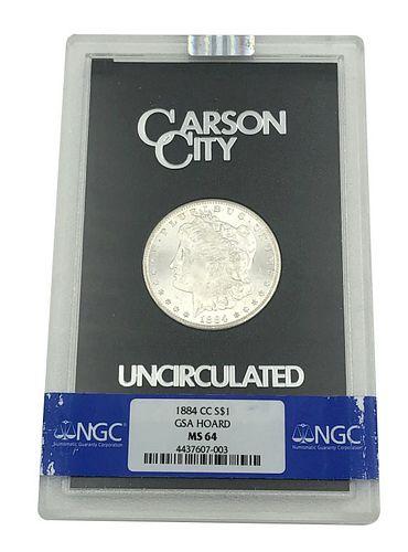 1884-CC Morgan Silver Dollar Coin GSA Hoard