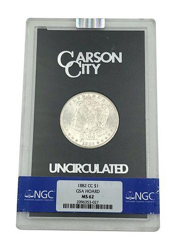 1882-CC Morgan Silver Dollar Coin GSA Hoard