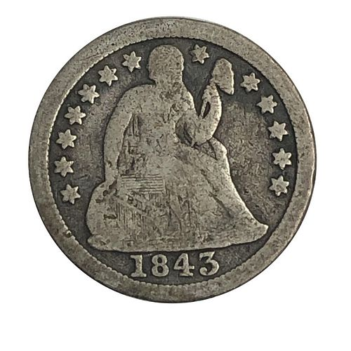 1843 Seated Liberty Dime Coin