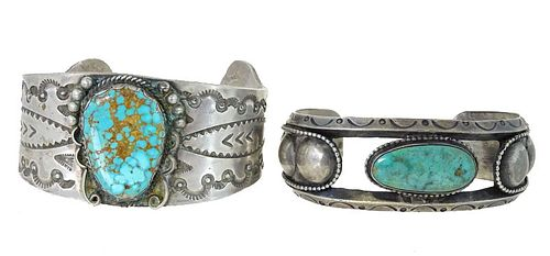 Pair of Navajo Turquoise & Sterling Silver Cuffs
