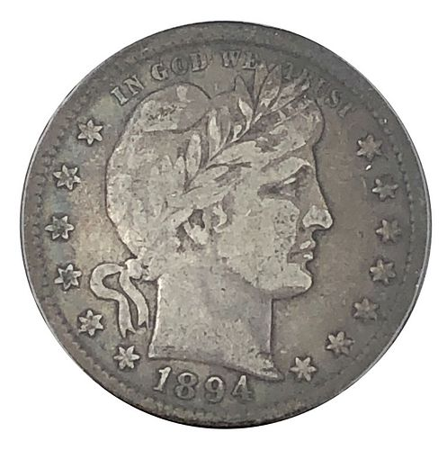 1894 Barber Quarter Dollar Coin