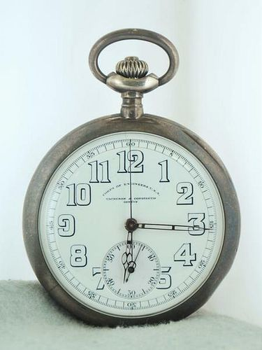 20th cent Vacheron Constantin Pocket Watch,in Sterling Silver, $30KValue,w/Cert!