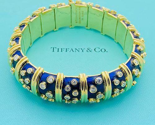 TIFFANY & CO.  SCHLUMBERGER 18K DIAMOND ENAMEL BRACELET