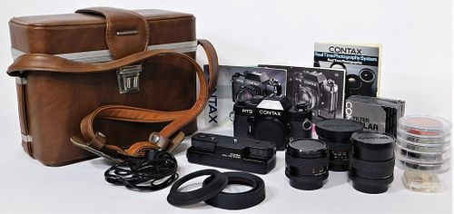 Yashica Contax RTS SLR Camera, with 3 Lenses #1