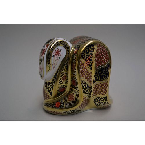ROYAL CROWN DERBY IMARI OLD SNAKE PAPERWEIGHT
