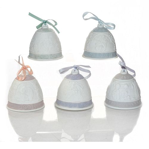 5 LLADRO CERAMIC CHRISTMAS BELLS