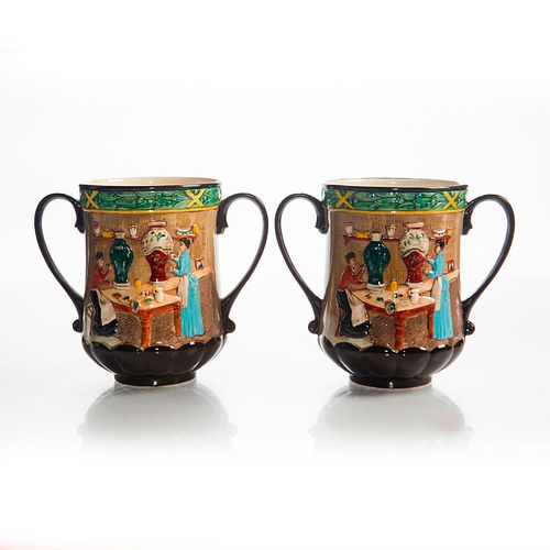2 ROYAL DOULTON LOVING CUPS, POTTERY IN THE PAST D6696