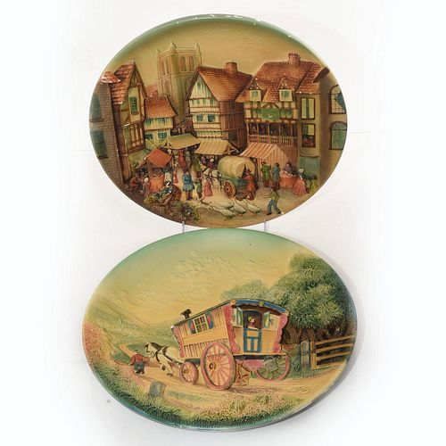 2 W.H. BOSSONS HANDPAINTED WALL PLAQUES