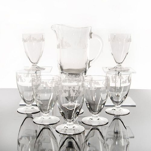 9PC LENOX CRYSTAL ETCHED PITCHER & FOOTED TUMBLERS CATS