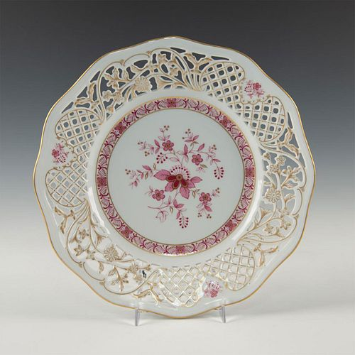 SCHUMANN ARZBERG RETICULATED PINK AND GILT PLATE