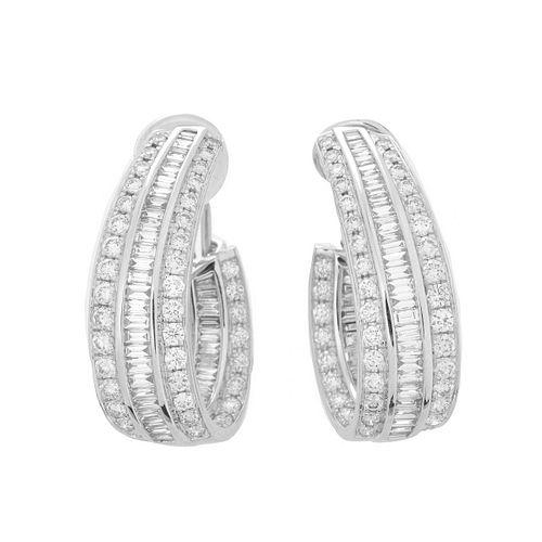 Diamond and 18K Hoop Earrings.