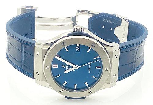 Hublot  Classic Fusion  Titanium Blue Dial 45.6mm Automatic