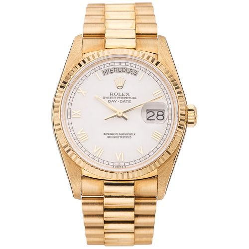 ROLEX OYSTER PERPETUAL DAY – DATE. 18K YELLOW GOLD. REF. 18038, CA. 1986 - 1987