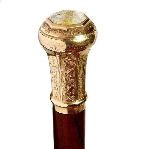 Gold Quartz Presentation Cane