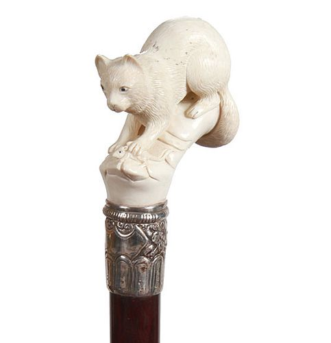 Mammoth Ivory Cat and Mouse Cane
