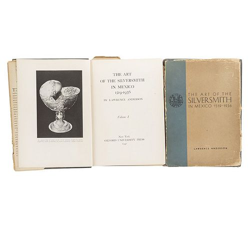 Anderson, Lawrence. The Art of the Silversmith in Mexico 1519 - 1936. New York: Oxford University Press, 1941.  Tomes I - II. Pieces: 2