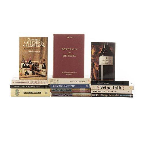Books on Wine. The Wines of the Rhône Vallery and Provence/ Puligny-Montrachet/ Notes on a California Cellarbook... Pieces: 14.