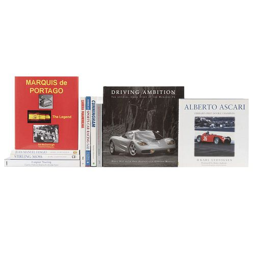Books on Drivers and Races. Marquis de Portago / Driving Ambition / American Sports Cars Racing / Carrera Panamericana... Pieces: 10.