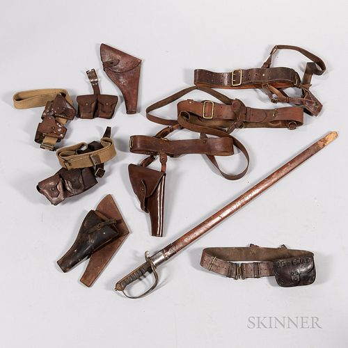 British Sword and Three Leather Belts