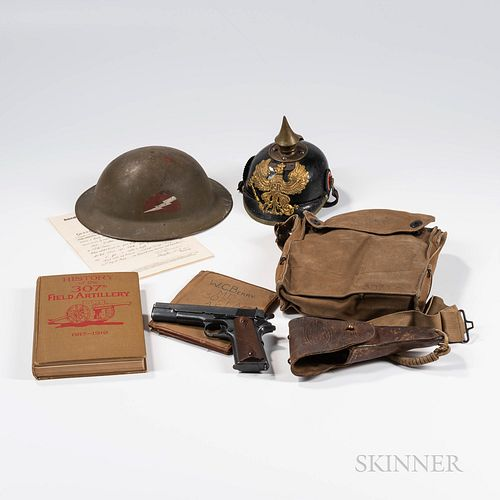 Colt 1911 Semiautomatic Pistol, Holster, Helmets, Gear, and Papers Identified to Walter C. Berry, Medic in the 307th Field Artillery, 7