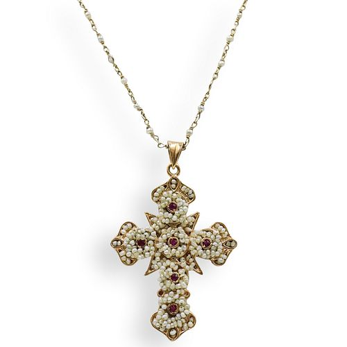 14k Gold, Seed Pearls and Ruby Cross Necklace