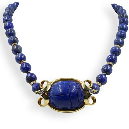 18k Gold and Lapis Lazuli Beaded Scarab Necklace