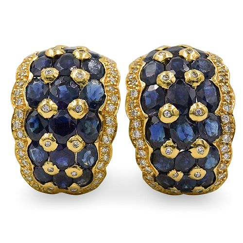 Pair Of 14k Gold, Sapphire and Diamond Earrings