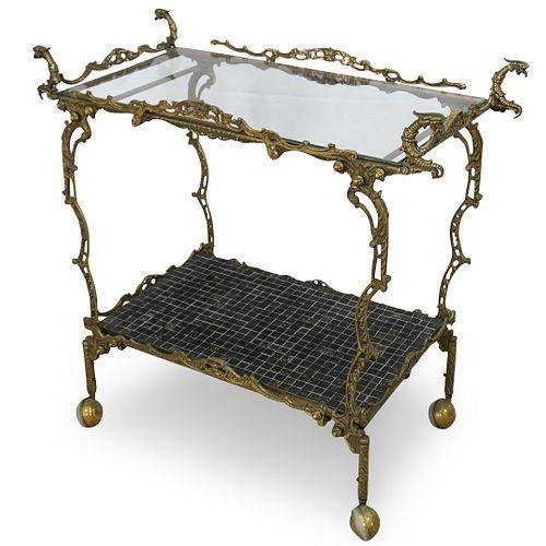 Italian Regency Brass Bar Cart