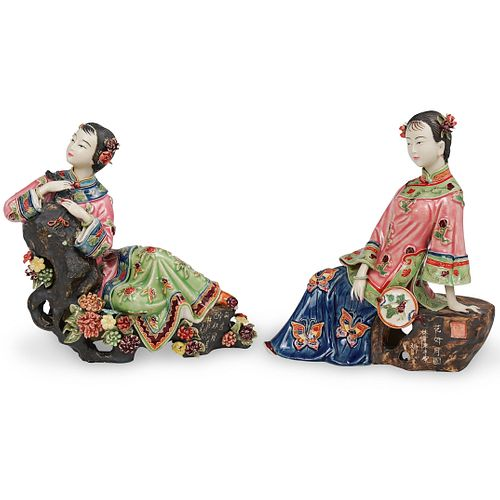 (2 Pc) Signed Chinese Porcelain Figurines