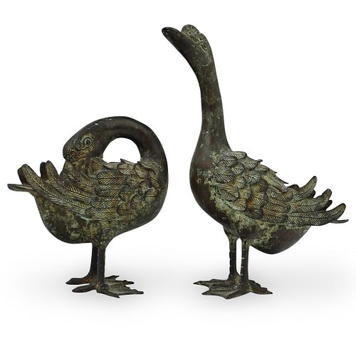 (2 Pc) 19th Cent. Chinese Bronze Duck Statues