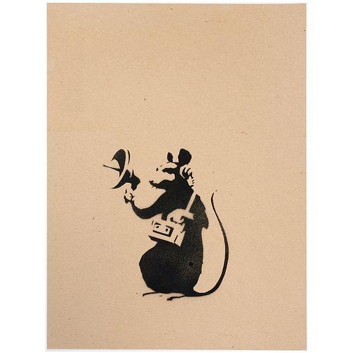 Banksy (attrib.), spray paint stencil