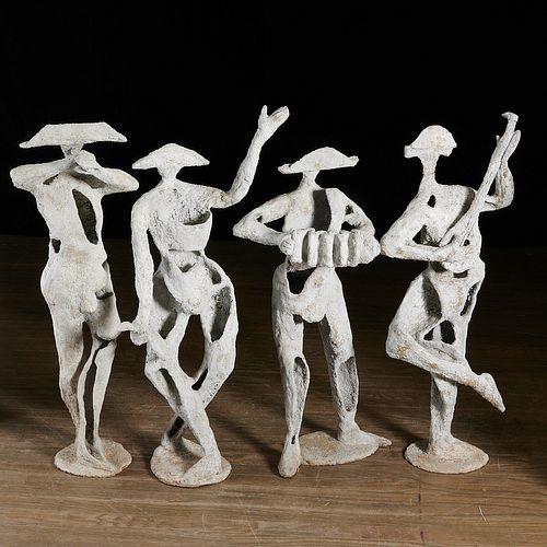 (4) Large Modernist Venetian musician statues