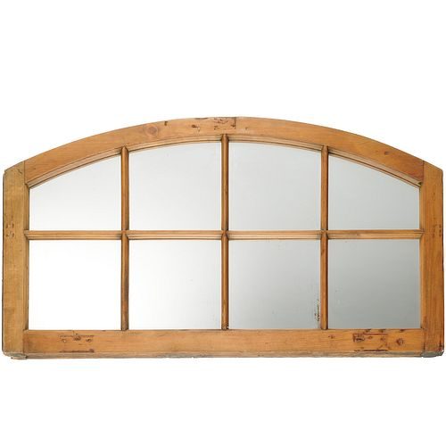 Antique arched window frame mirror