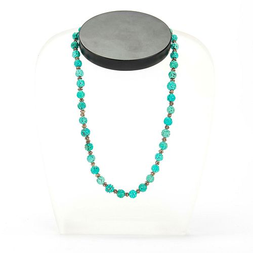 CARVED CHINESE TURQUOISE SHOU BEAD NECKLACE