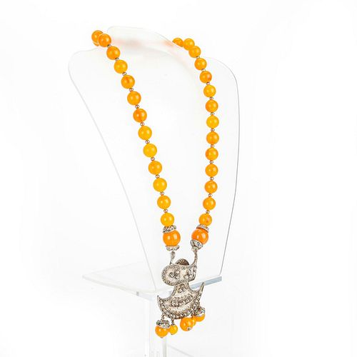 KENNETH LANE TIBETAN STYLE BEAD AND PENDANT NECKLACE