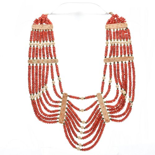 RED CORAL STYLE BEAD BIB STATEMENT NECKLACE