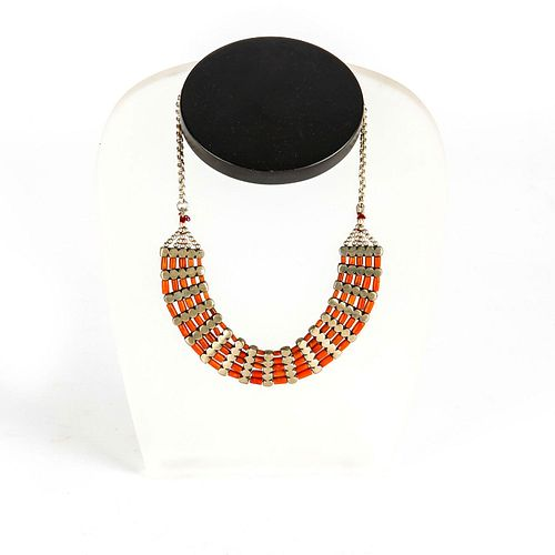 STERLING SILVER AND RED CORAL BIB NECKLACE