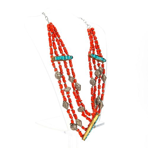 TIBETAN RED CORAL AND SILVER 4 STRAND NECKLACE