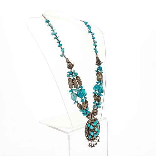 VINTAGE ASIAN SILVER AND TURQUOISE NECKLACE