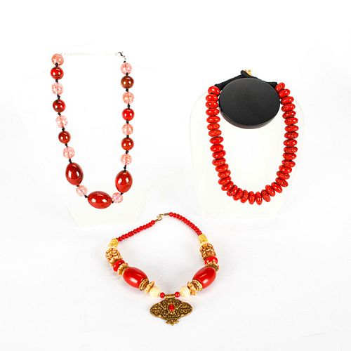 3 ASIAN LARGE RED BEAD NECKLACES