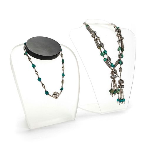 3 SILVER AND TURQUOISE BEAD NECKLACES