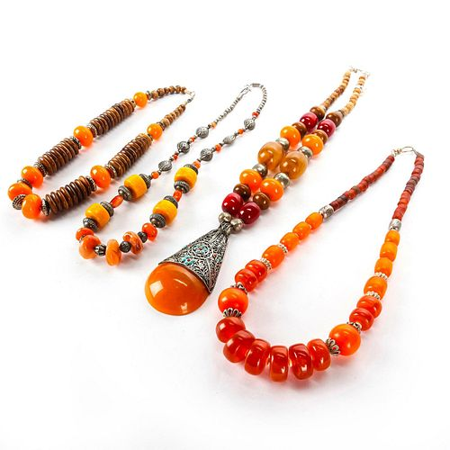 4 TRADITIONAL CARNELIAN MIDDLE EASTERN NECKLACES