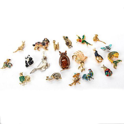 19 ANIMAL THEMED BROOCH PINS