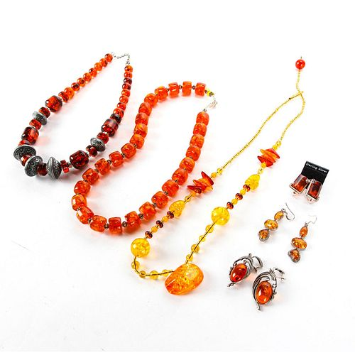NATURAL AMBER NECKLACES WITH MATCHING EARRINGS