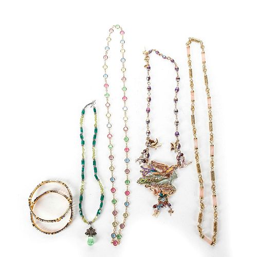 4 COSTUME COLORED GLASS STONE NECKLACES AND BANGLES