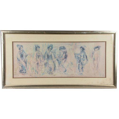 LARGE 20TH C. ASIAN ART BY EDNA HIBEL
