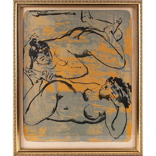 UNIQUE LITHOGRAPH OF TWO RUBENESQUE NUDE LADIES