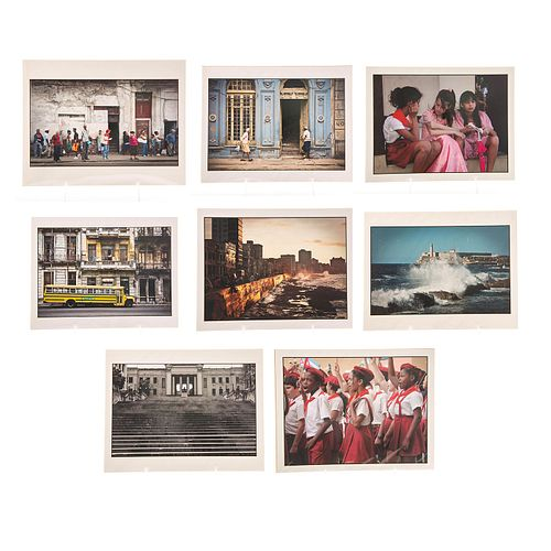 8 ALAIN BOURGEOIS COLORED PHOTOGRAPHS, CUBAN INTEREST